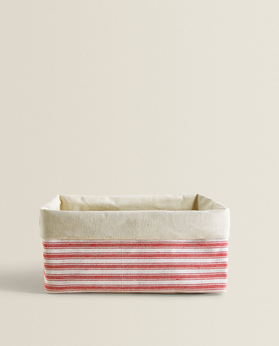 STRIPED CANVAS BASKET