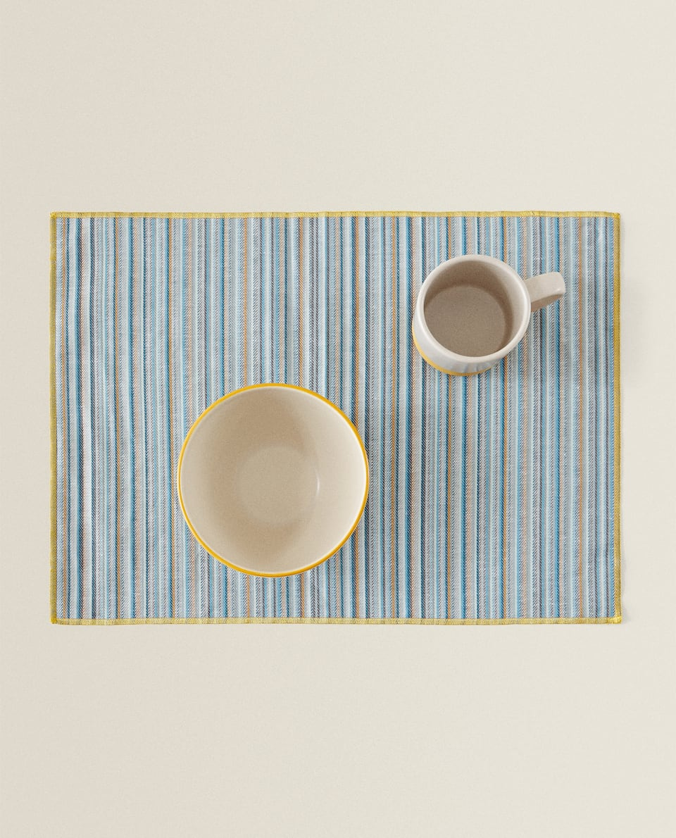 COTTON LINEN PLACEMAT WITH MULTICOLOURED STRIPES