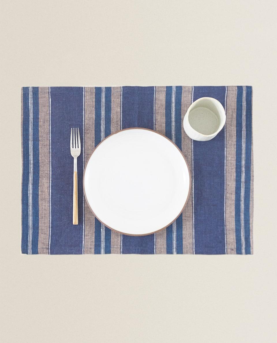 SET DE TABLE LIN RAYURES INÉGALES