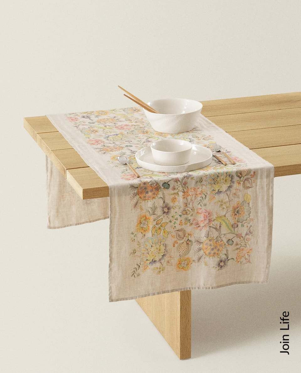 FLORAL PRINT WASHED LINEN TABLE RUNNER