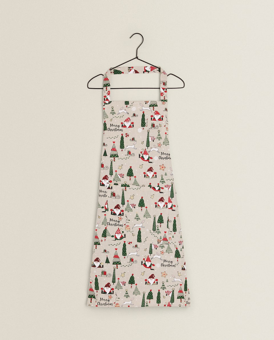 LINEN COTTON CHRISTMAS APRON