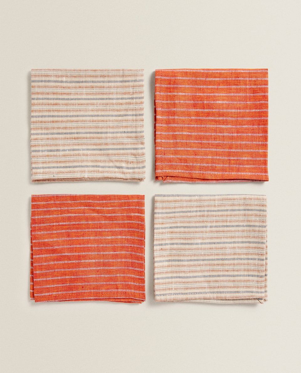 STRIPED MINI TEA TOWEL (PACK OF 4)