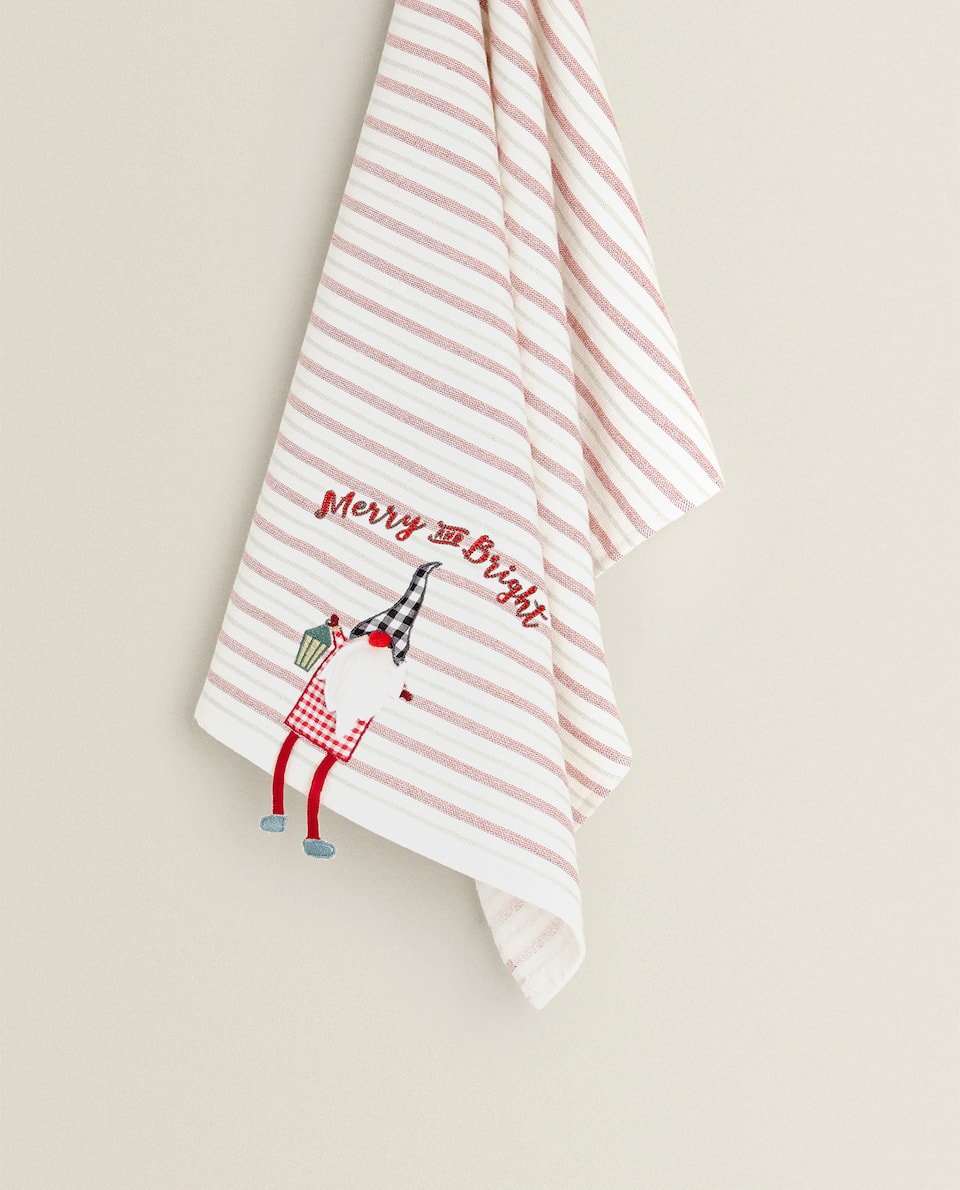 TEA TOWEL WITH FATHER CHRISTMAS EMBROIDERY