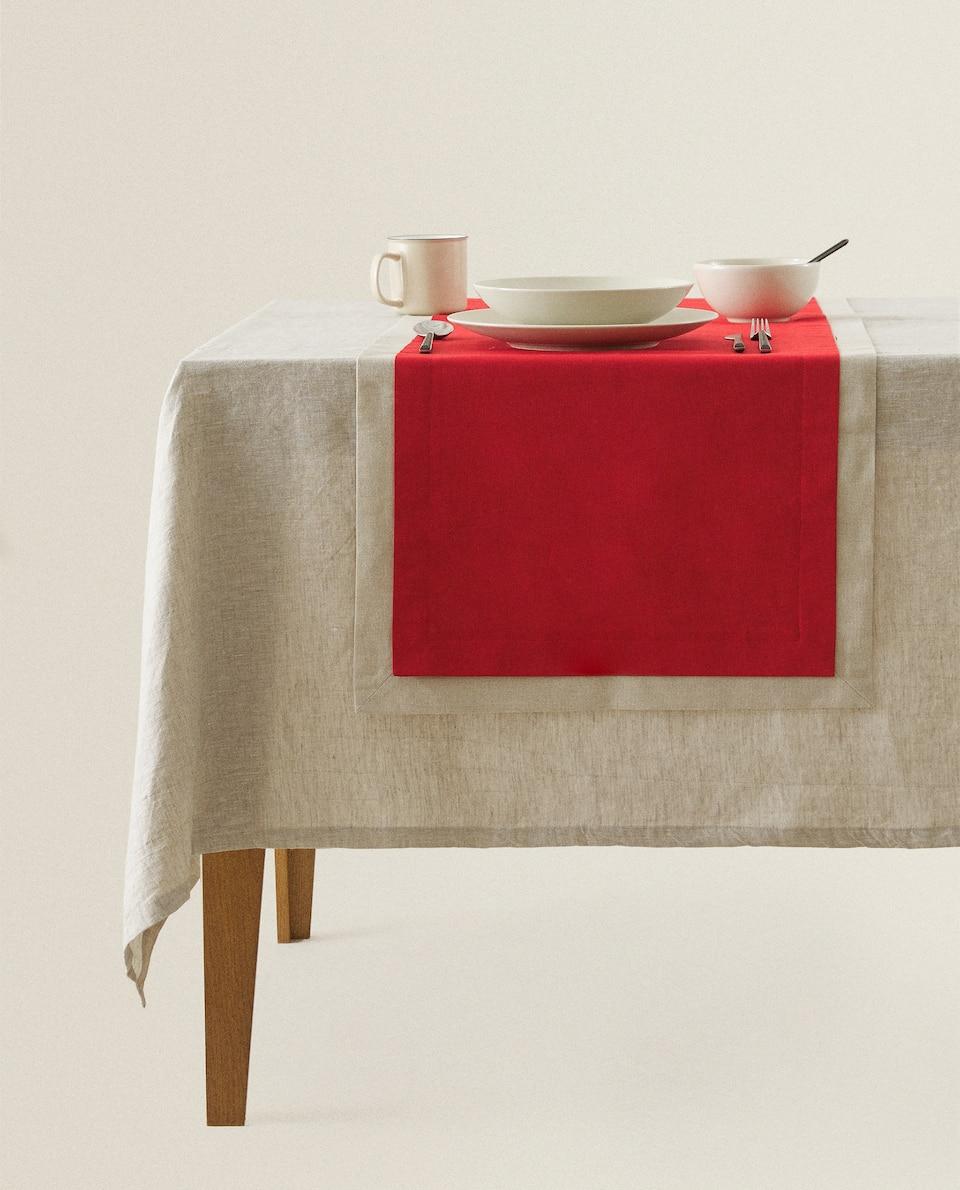 غطاء طاولة ضيق من الكتان بطبقة مزدوجة