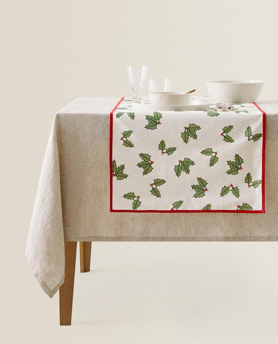 غطاء طاولة ضيق من القطن بزينة عيد الميلاد