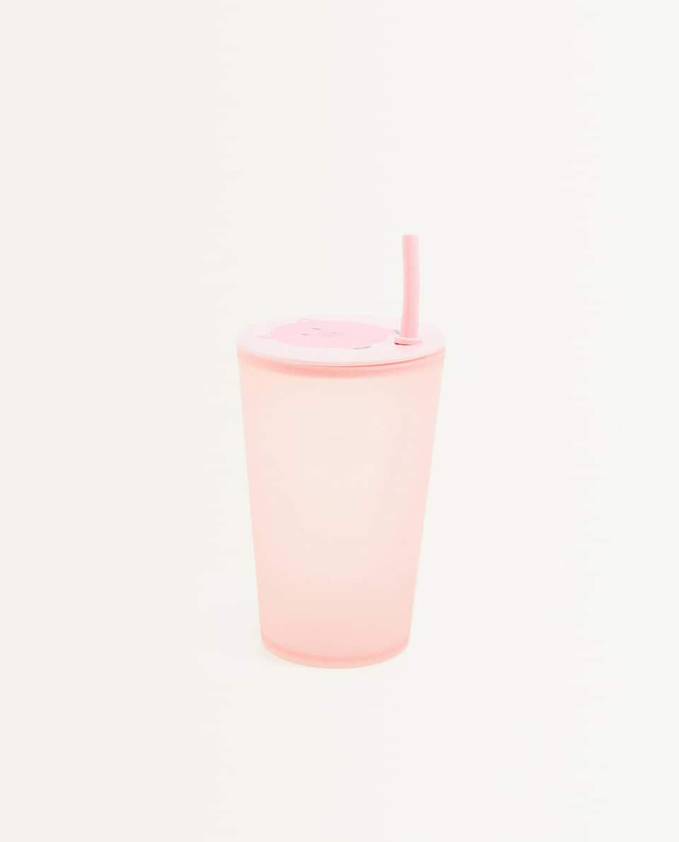 PIGGY CUP WITH LID AND STRAW