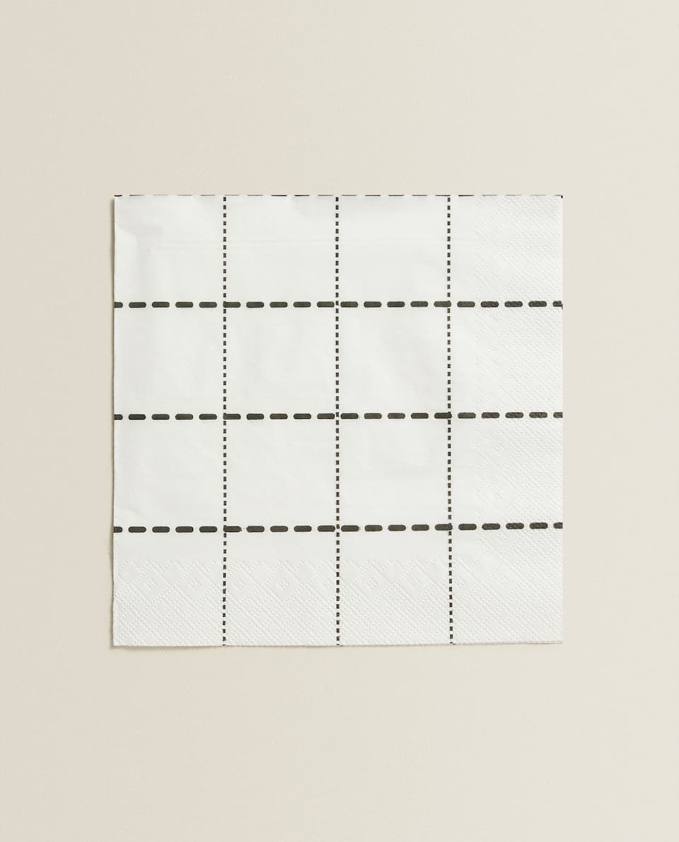 CHECKED PRINT PAPER NAPKINS (PACK OF 20)