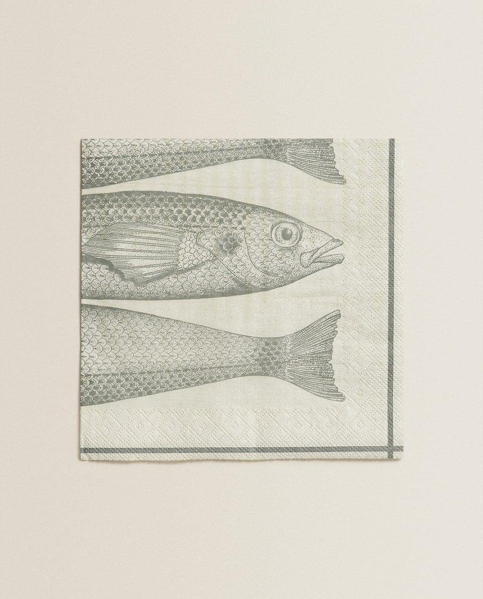 FISH PRINT PAPER NAPKINS (PACK OF 20)