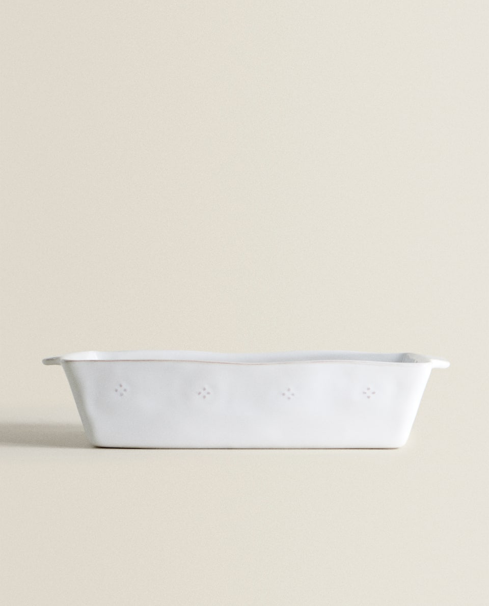 CURVED EDGE STONEWARE OVEN SERVING DISH
