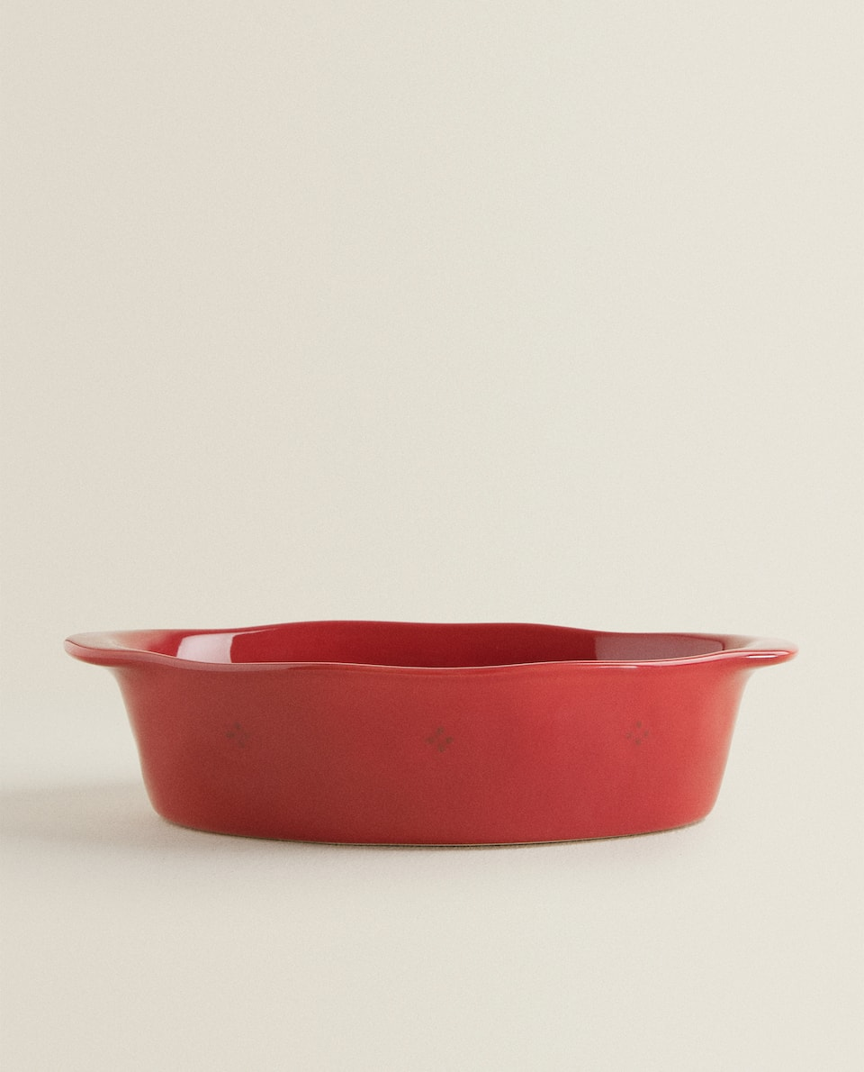 OVAL RED STONEWARE OVEN SERVING DISH