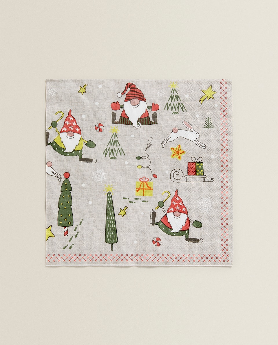 HOUSE AND CHRISTMAS TREE NAPKIN (PACK OF 20)