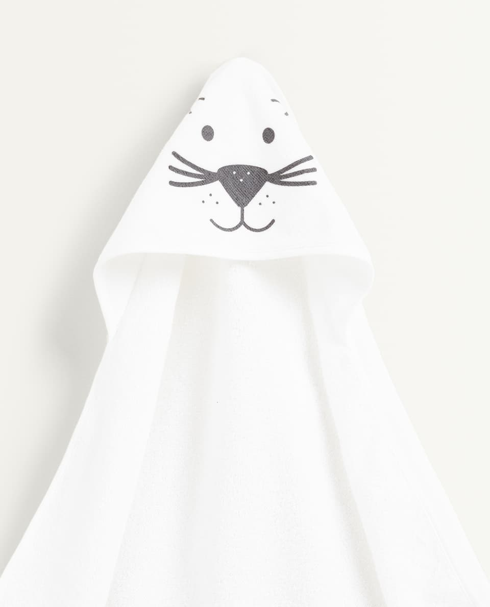 BEAR PRINT HOODED TOWEL