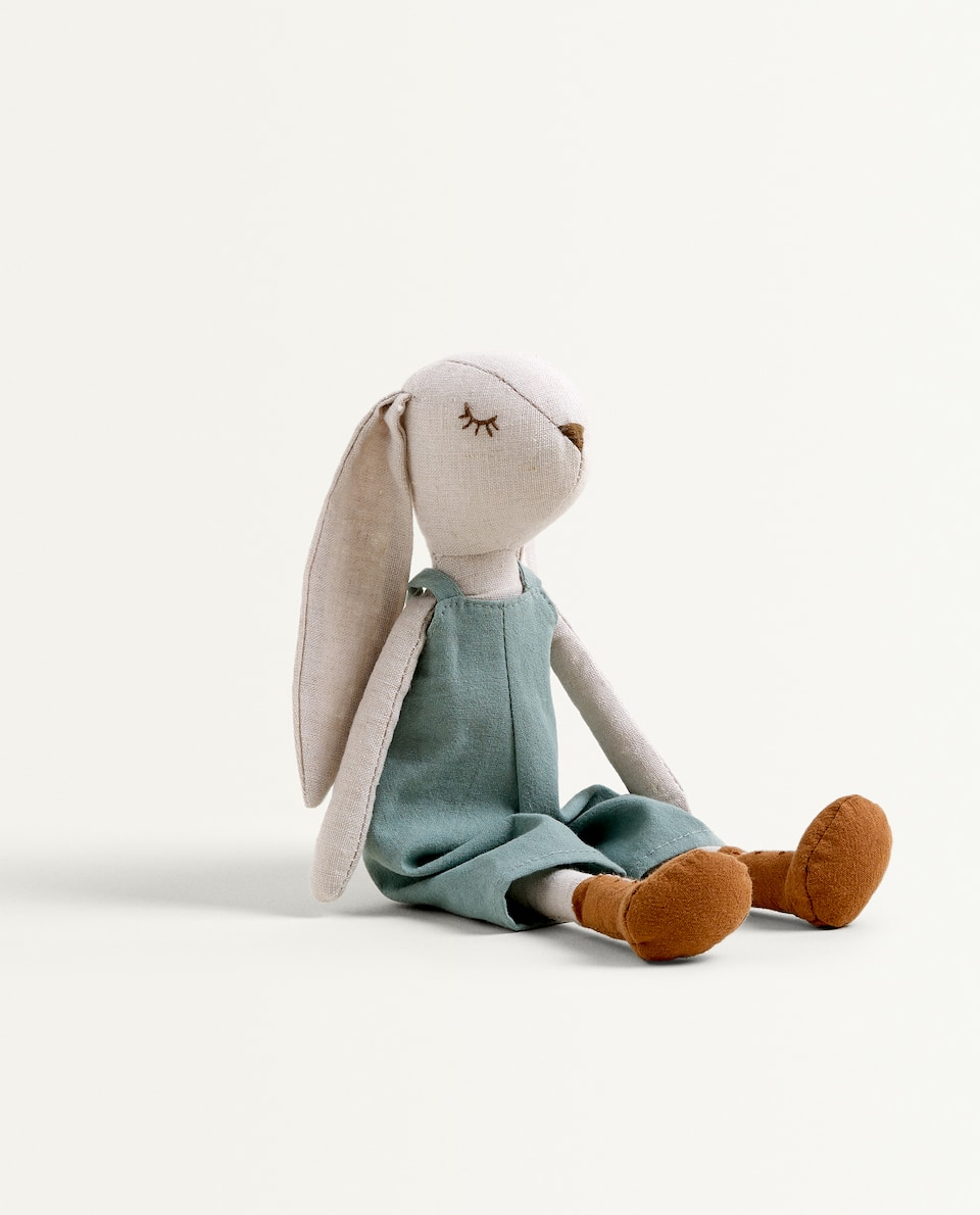 BUNNY SOFT TOY IN DUNGAREES