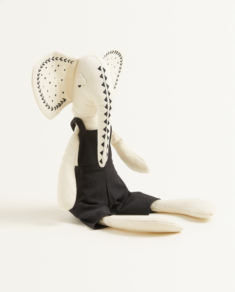 ELEPHANT SOFT TOY IN DUNGAREES