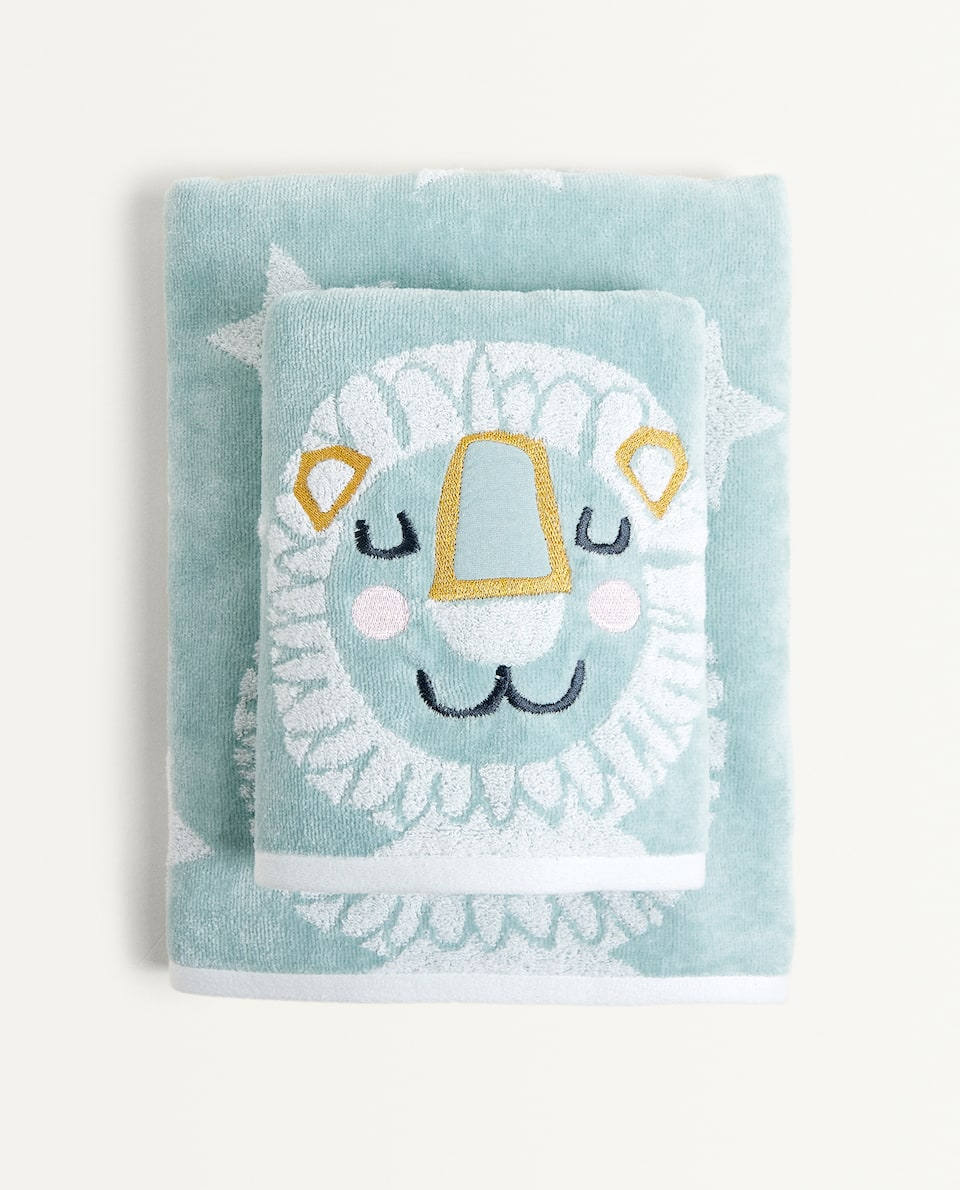 EMBROIDERED LION TOWEL