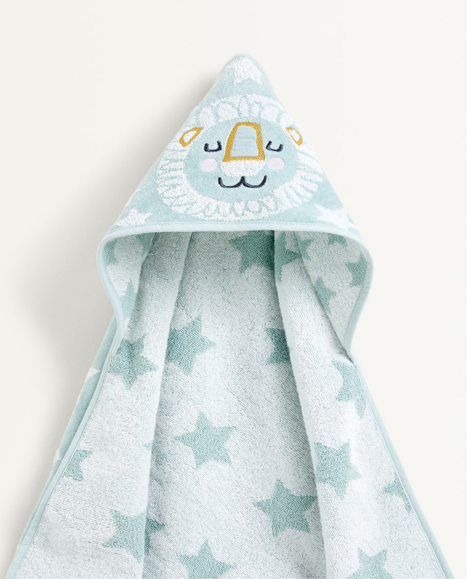 EMBROIDERED LION HOODED TOWEL