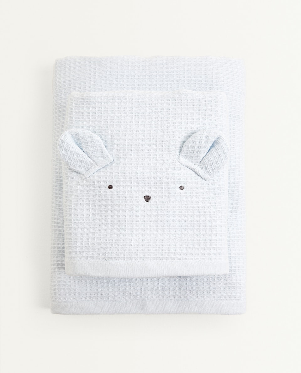 WAFFLE KNIT TOWEL WITH EARS