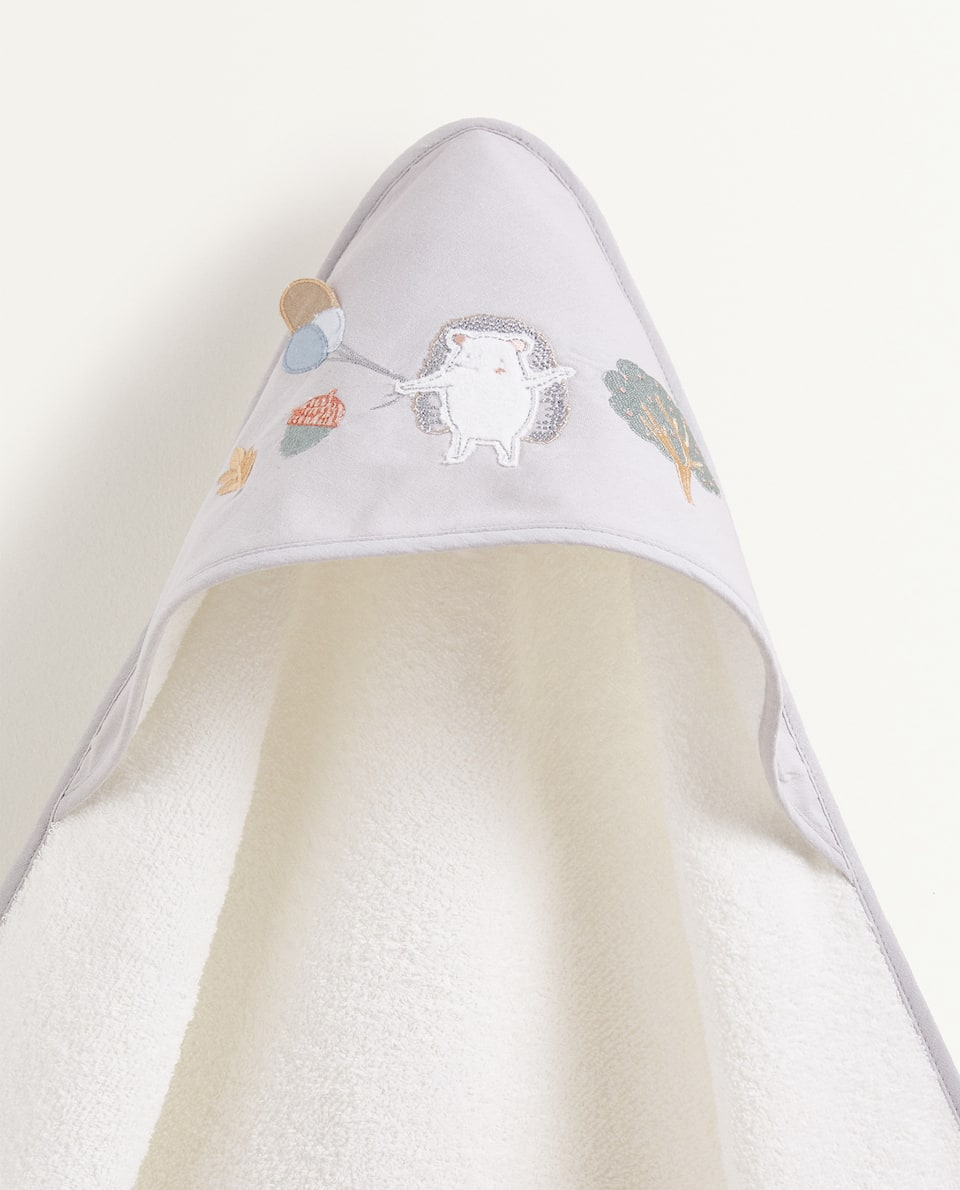 HOODED TOWEL WITH HEDGEHOG AND BALLOON EMBROIDERY