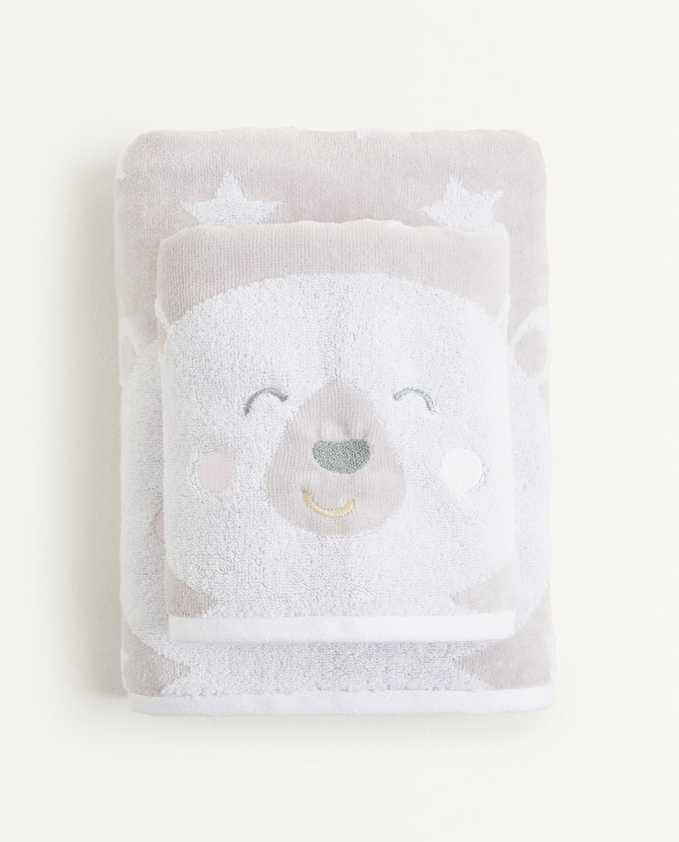 BEAR AND STAR PATTERN TOWEL
