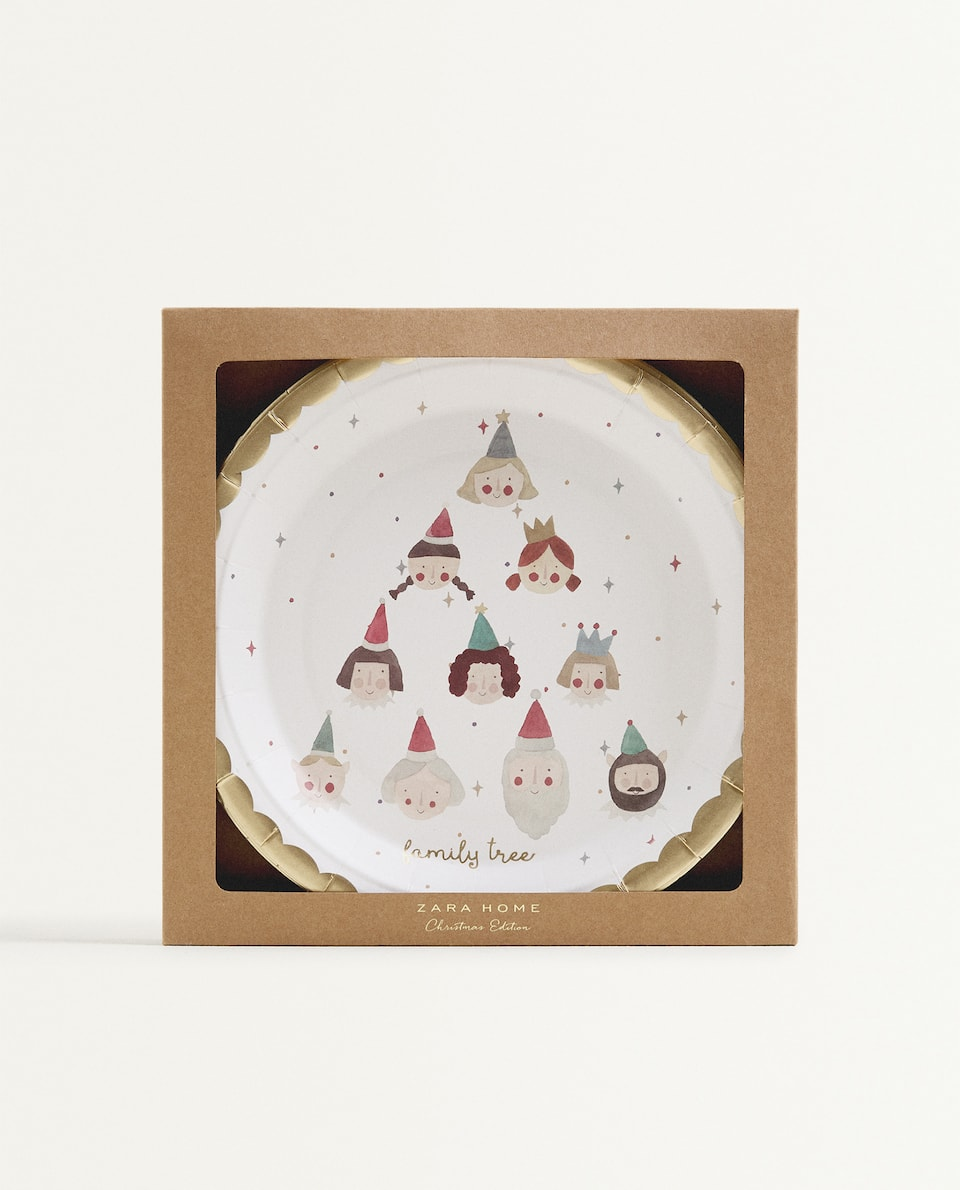 CHRISTMAS PAPER DINNER PLATE (PACK OF 12)