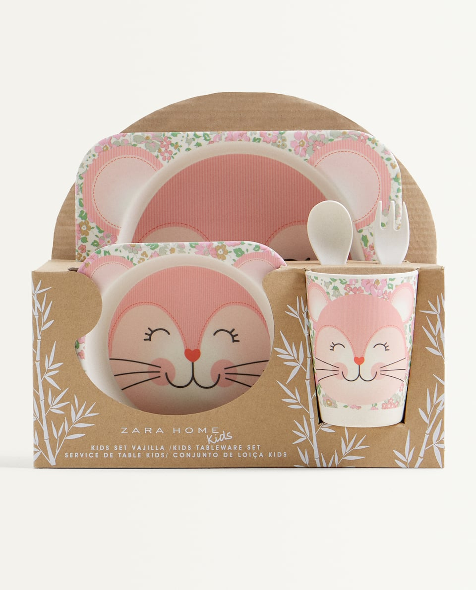 CAT BAMBOO TABLEWARE SET