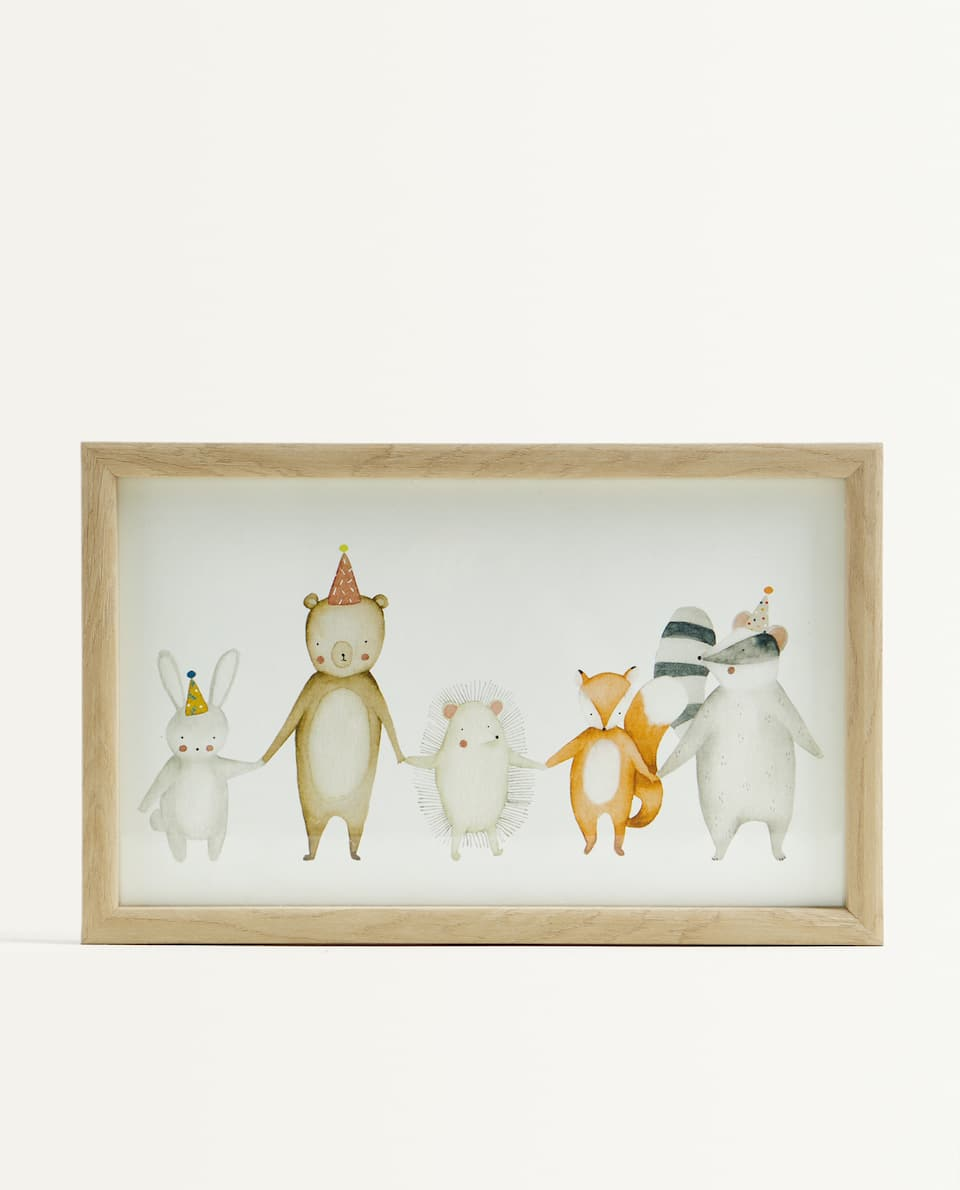 WOOD-EFFECT FRAME WITH ANIMALS