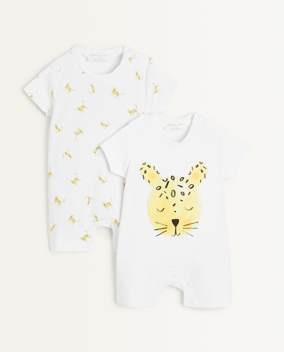 LEOPARD PRINT ROMPER SUIT (SET OF 2)