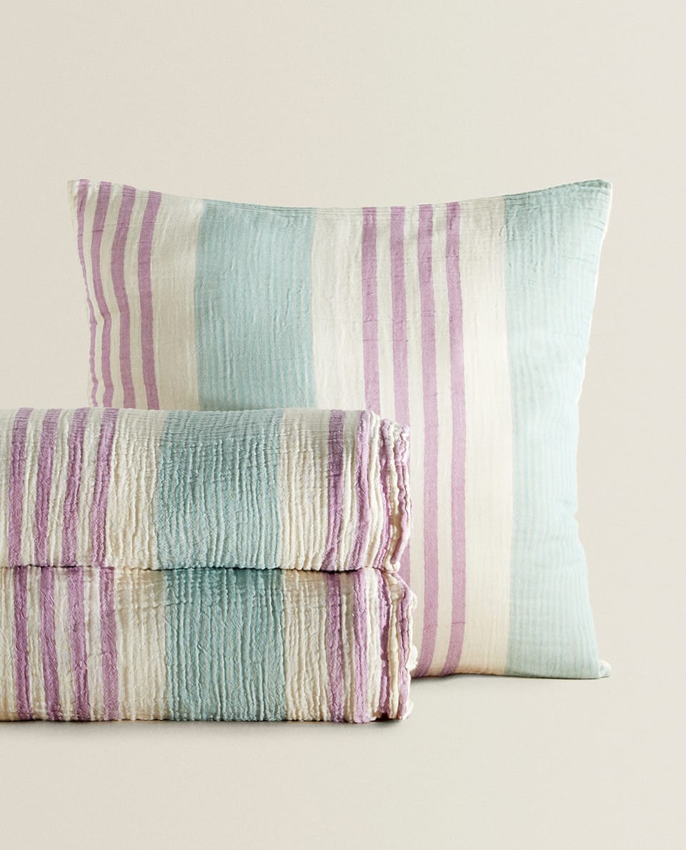 STRIPED COTTON BEDSPREAD