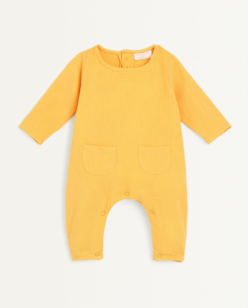 LONG SLEEVE GAUZE ROMPER SUIT