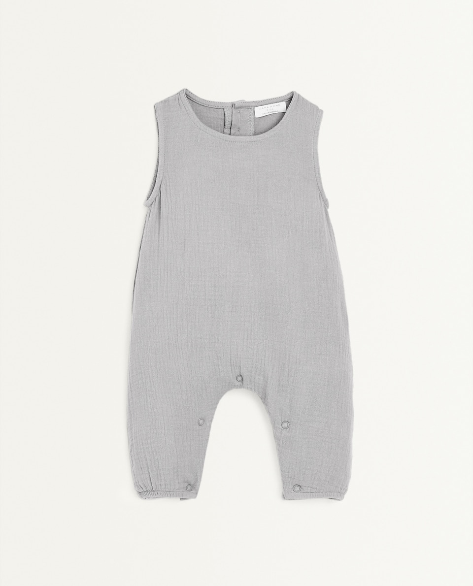 GREY GAUZE ROMPER SUIT