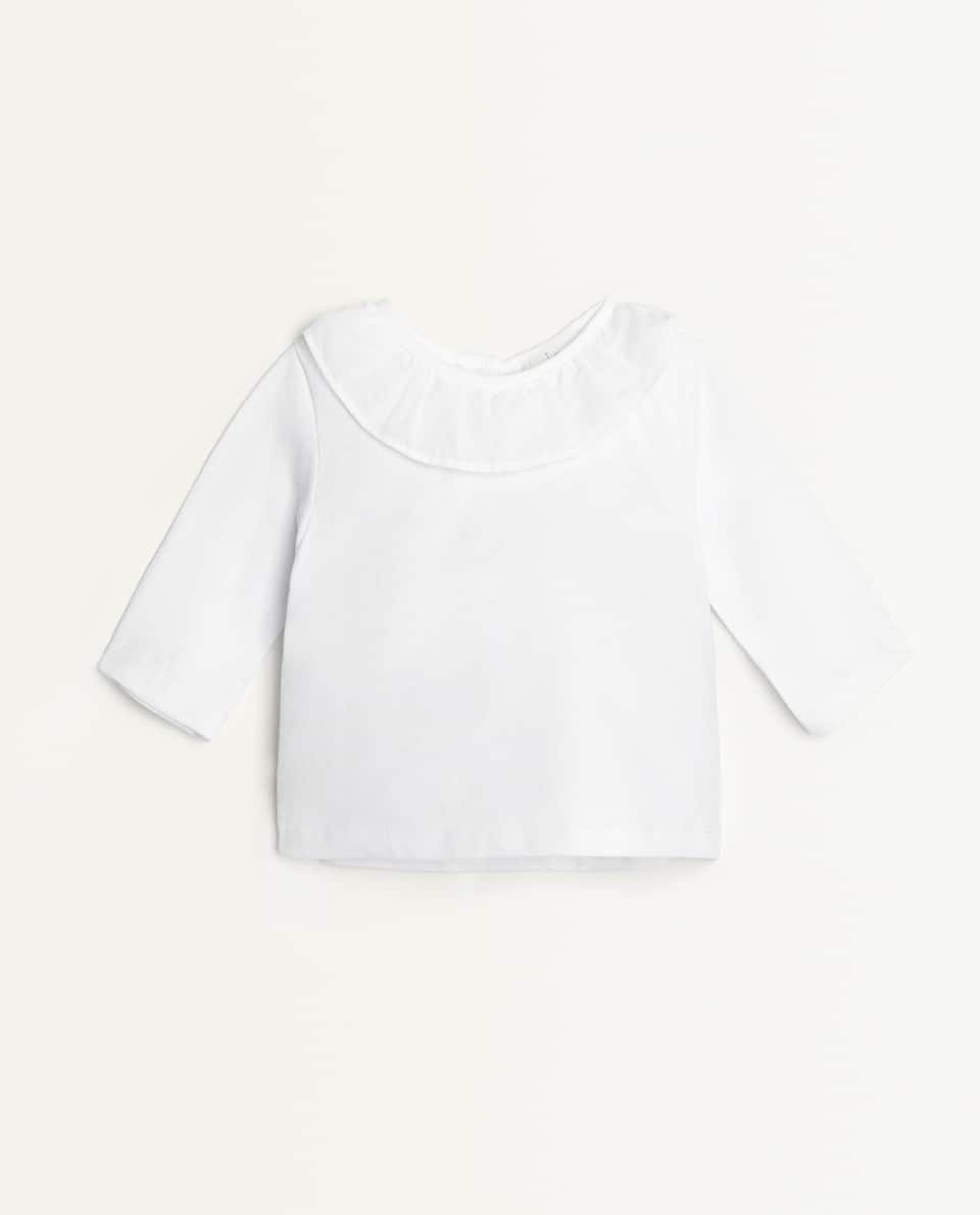 RUFFLE NECK T-SHIRT
