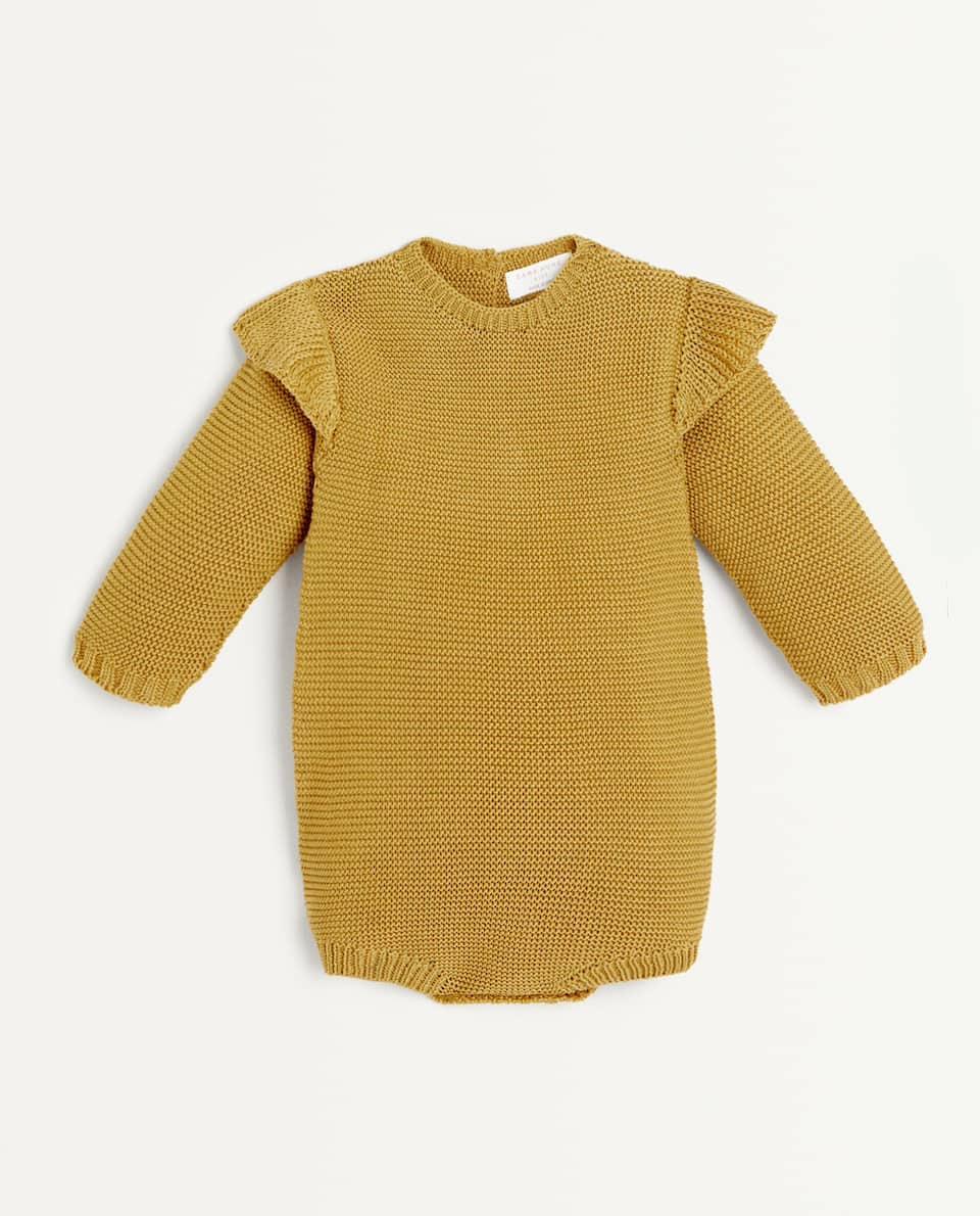 LONG SLEEVE KNIT COTTON ROMPER SUIT
