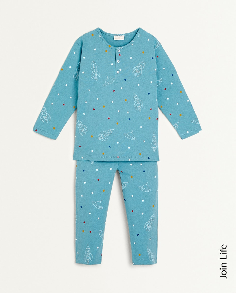 SET OF ROCKET PRINT COTTON PYJAMAS