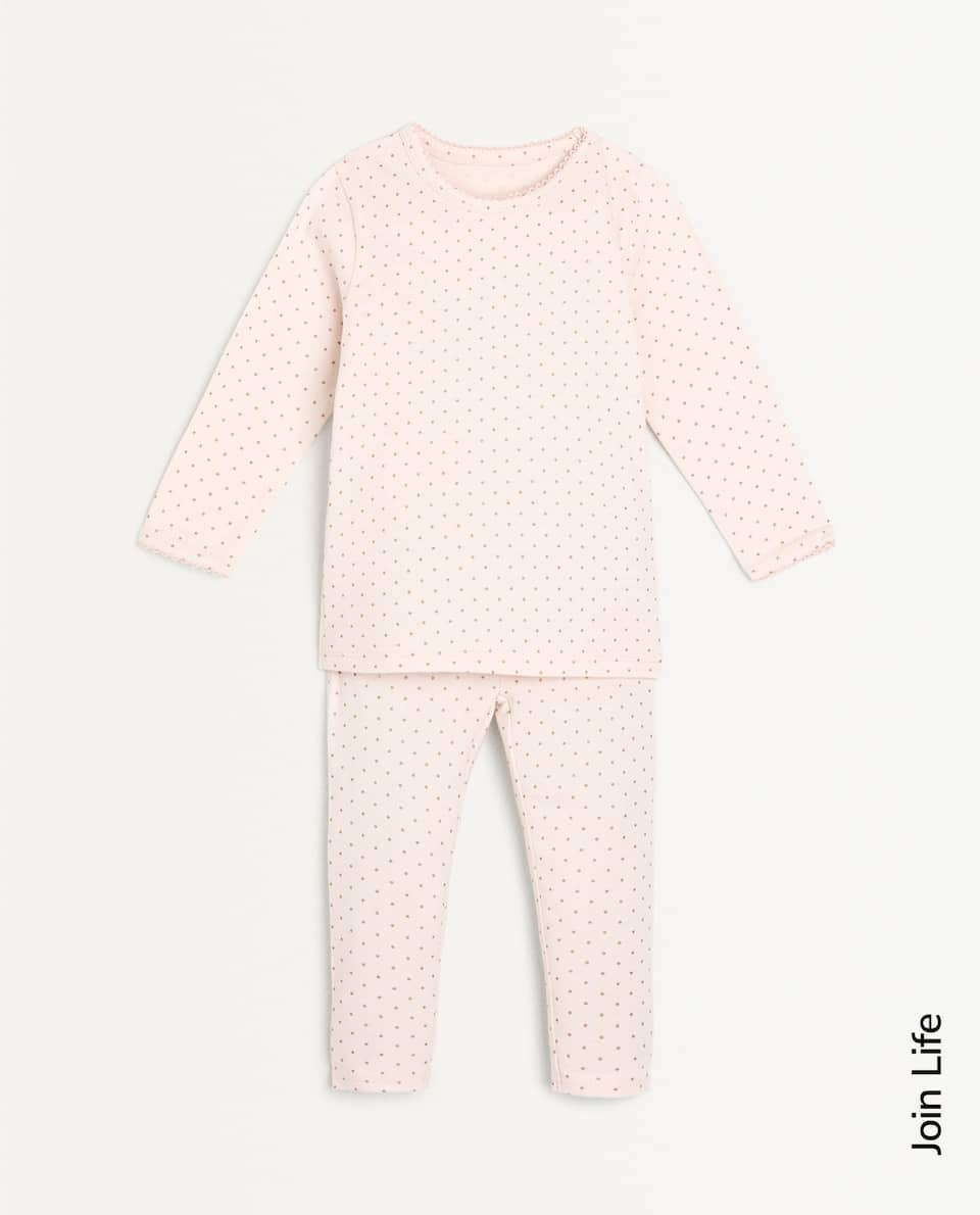 SET OF DOTTED COTTON JERSEY PYJAMAS