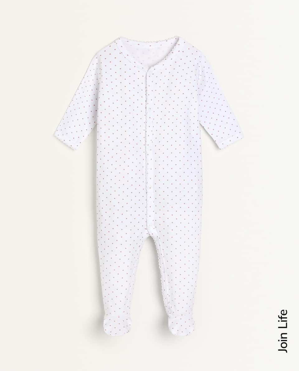 DOTTED COTTON JERSEY ROMPER SUIT