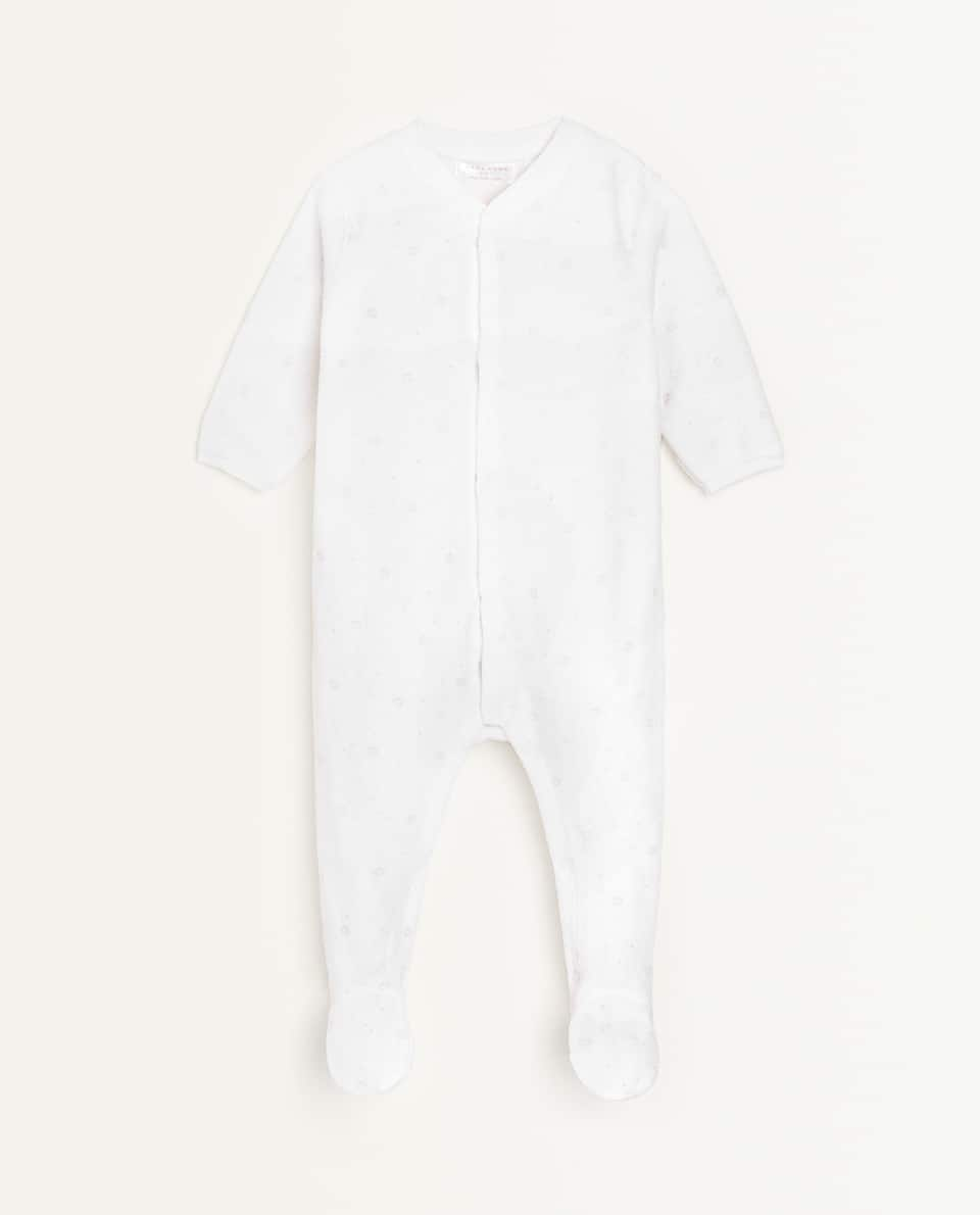 MINI PRINT VELOUR ROMPER SUIT
