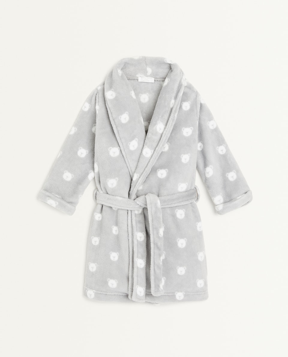 BEAR PRINT FLEECE DRESSING GOWN