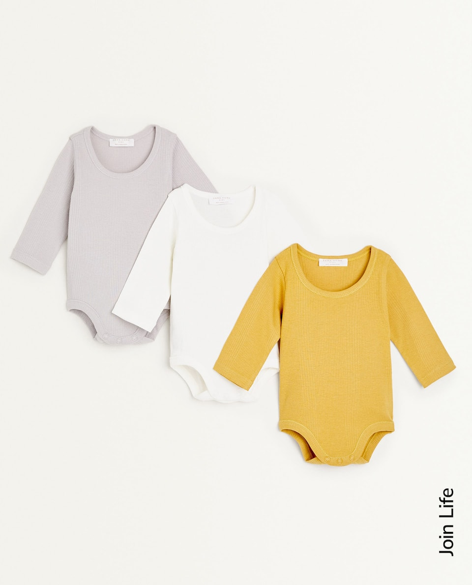 RIBBED COTTON BODYSUIT (SET OF 3)