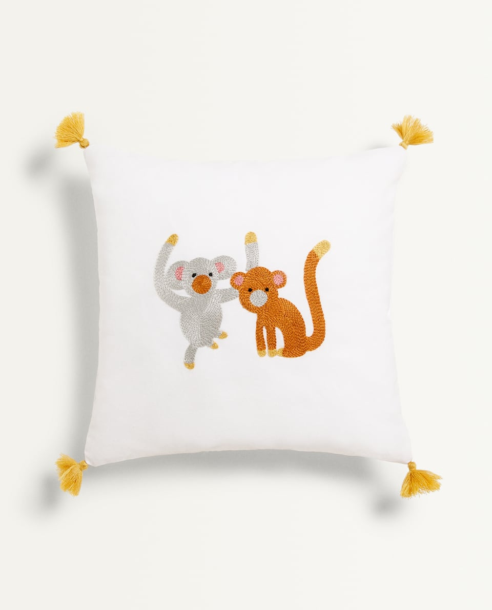 EMBROIDERED ANIMALS CUSHION