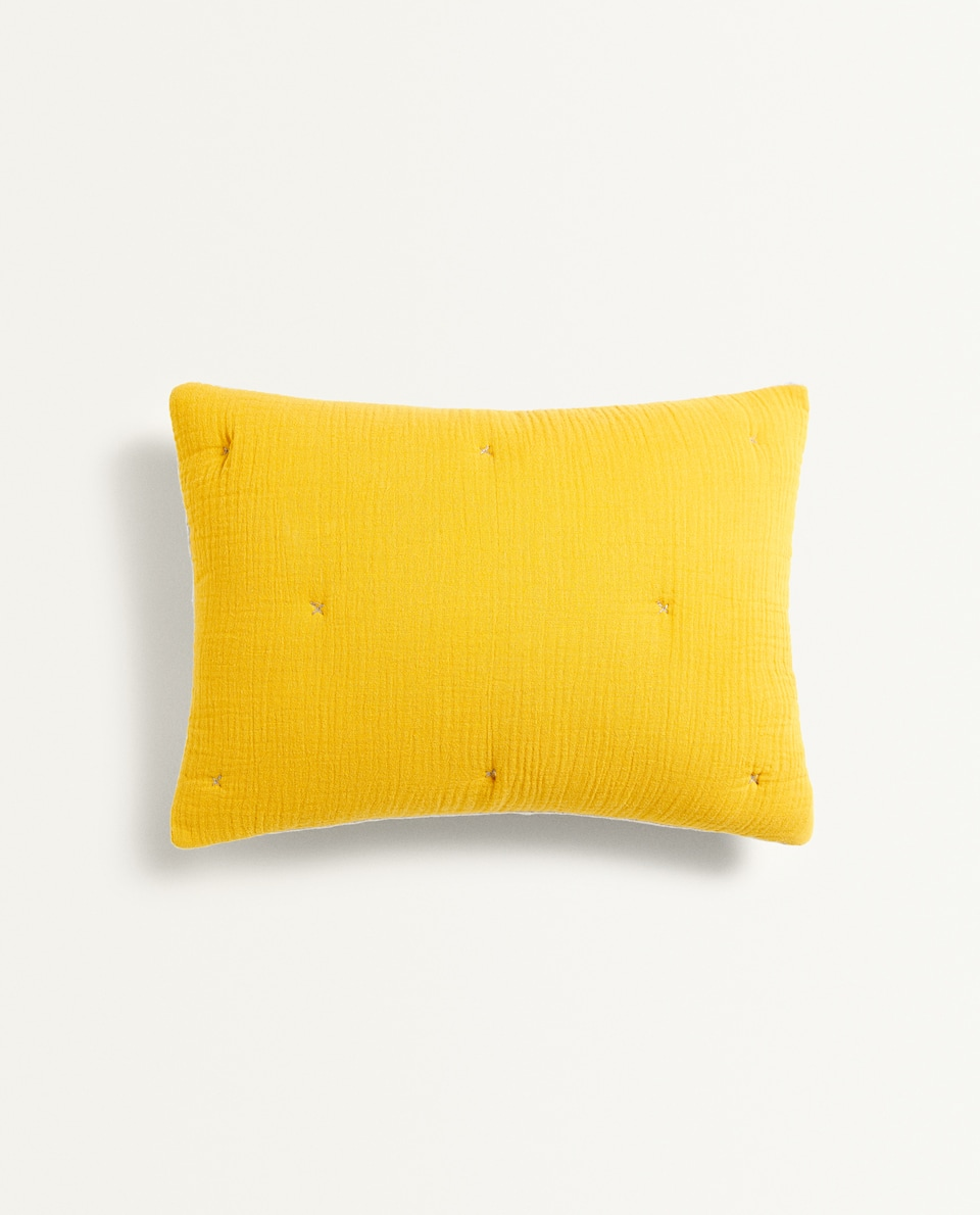 WRINKLE-EFFECT COTTON CUSHION COVER