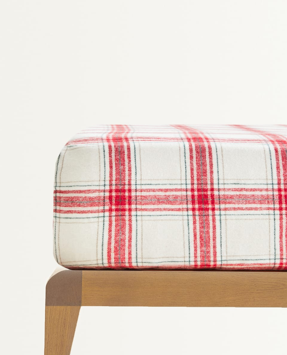 CHECKED FLANNEL FITTED SHEET