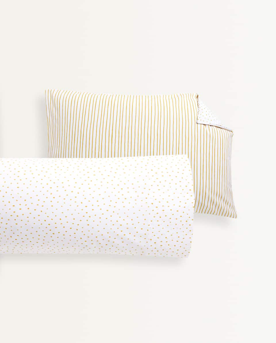 POLKA DOT AND STRIPED PILLOWCASE