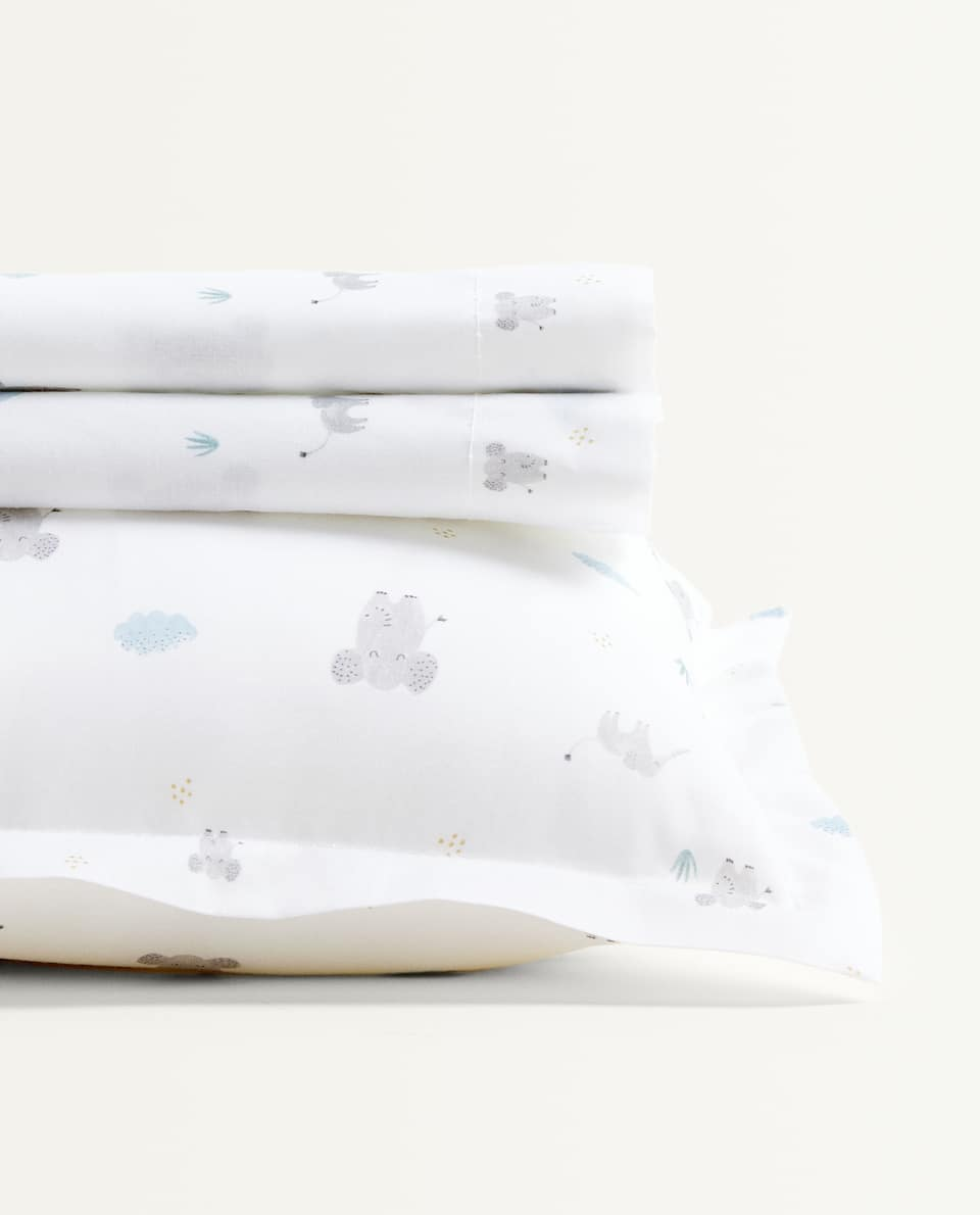 ELEPHANTS MINI COT AND MOSES BASKET SHEET SET