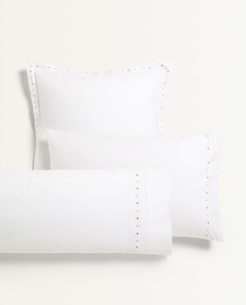 EMBROIDERED STARS PILLOWCASE