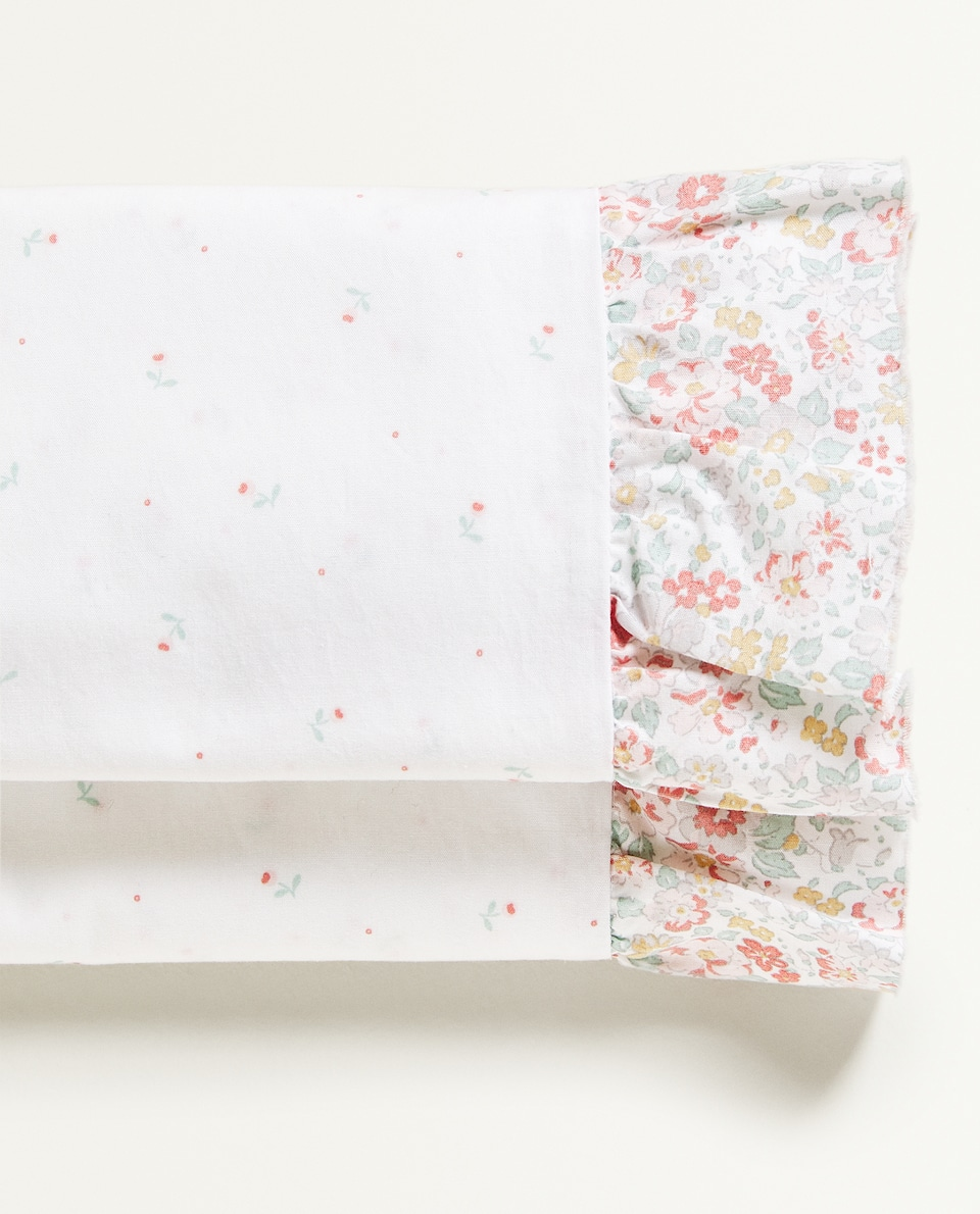 RUFFLED FLORAL FLAT SHEET