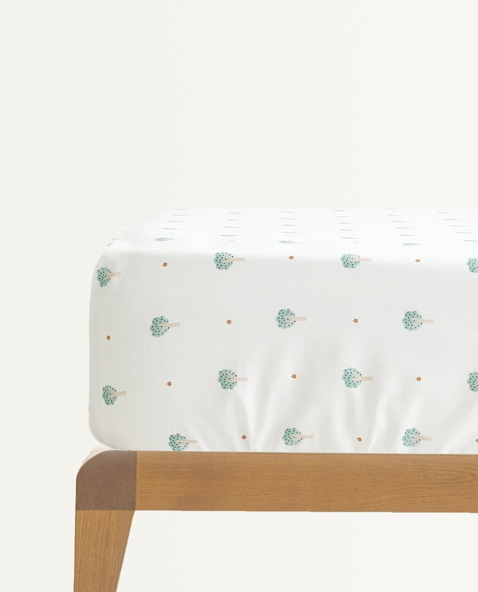 TREE PRINT FITTED SHEET
