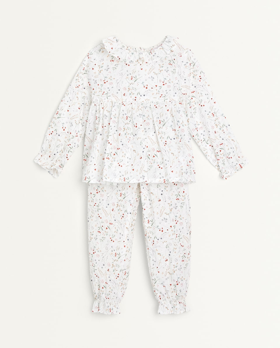 SET OF FLORAL DOTTED MESH PYJAMAS