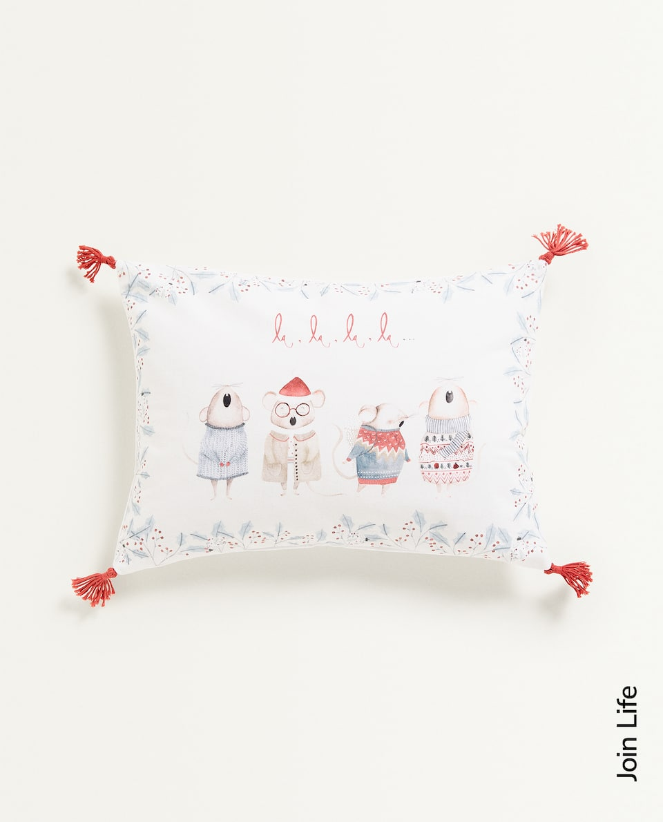 KIDS CHRISTMAS CUSHION COVER WITH TASSELS