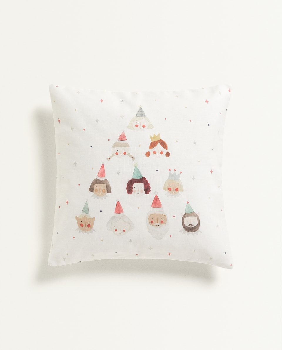 KIDS CUSHION COVER WITH CHRISTMAS FACES