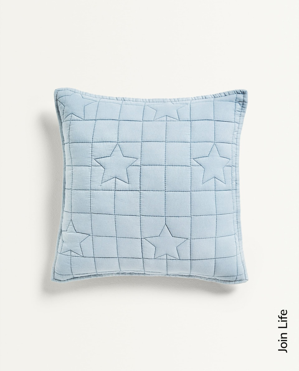 STAR AND CHECK CUSHION COVER